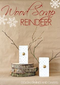 DIY Wooden Reindeer made from wood scraps! A fun, modern take on Christmas decor. via @Taryn {Design, Dining + Diapers}
