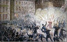 The Haymarket affair (also known as the Haymarket massacre or Haymarket riot)   was the aftermath of a bombing that took place at what began as a peaceful labor   rally on Tuesday May 4, 1886, at Haymarket Square in Chicago. Workers were   striking for an eight-hour work day when an unknown person threw a dynamite   bomb at police as they tried to disperse the demonstration. The bomb and   resulting gunfire left seven police officers and at least four civilians dead,   and many others…