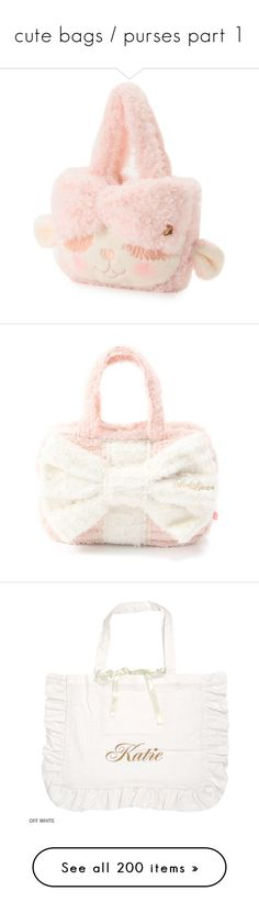"""""""cute bags / purses part 1"""" by kawaii-items ❤ liked on Polyvore featuring bags, handbags, accessories - bags, pink purse, pink handbags, pink bag, white handbags, white bag, white purse and tote bags"""