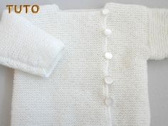 tuto - Layette tricot bb fait main, modèle tricot bebe Cardigan Bebe, Knitted Baby Blankets, Knitting, Sweaters, Illustrations, Talents, Bonnets, Service, Stricken