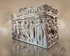 Sarcophagus,  a 2nd century marble Roman sarcophagus from Ambararasi (Konya) Turkey. Istanbul Archaeology Museum