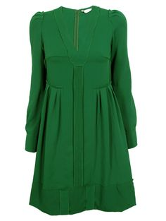 Sonia by Sonia Rykiel forest green pleated crepe day dress $560, get it here: http://rstyle.me/ie2da4mtu6
