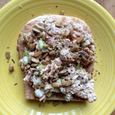 Dolphin-safe tuna with finely diced green onion and celery, served on toasted Ezekiel bread, then topped with sunflower seeds. The perfect late afternoon snack!
