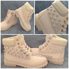Ready to ship-WOMEN 6.5-7 white timberlands spiked by SpikedCons