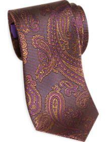 Egara Purple and Gold Paisley Narrow Tie