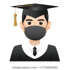 Face Medical Mask Graduation Emojimedical Mask Stock Vector (Royalty Free) 1772681831 Gothic Wallpaper, Star Students, Graduation Photoshoot, Preschool Graduation, Anime Music, Illustrations, Emoji, Congratulations, Images