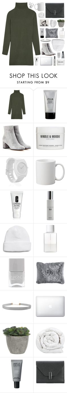 """in the still of the night"" by www-purrtydino-org ❤ liked on Polyvore featuring Equipment, Stila, Gianvito Rossi, Windle & Moodie, Nixon, Clinique, Colbert MD, Topman, SUQQU and Nails Inc."