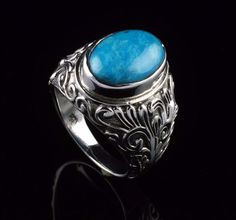 925 STERLING SILVER NATURAL AMERICAN TURQUOISE GEMSTONE MENS RINGS SIZE 8.25 US  #Unbranded