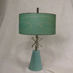 Mid Century Modern Atomic Turquoise Blue Aqua Table Lamp Fiberglass Shade 1950's