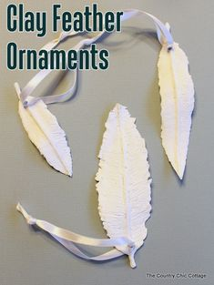 DIY How to make these very pretty Feather Ornaments using simple air dry  clay, or paper clay. Nice  Ballard Designs Knock Off by the Country Chic Cottage, Angie