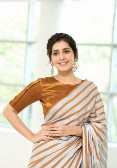 Raashi Khanna saree stills at Prati Roju Pandage success meet Cotton Saree Blouse Designs, Blouse Neck Designs, Blouse Patterns, Indian Fashion Dresses, Indian Designer Outfits, Saree Designs Party Wear, Stylish Blouse Design, Saree Trends, Stylish Sarees