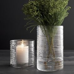 Shop Spin Glass Hurricane Vases/Candle Holders.  Spun glass cylinders with distinctive organic texture create a dramatic candlelight glow or showcase for fresh flowers. You don't need to be a florist to arrange flowers like one.
