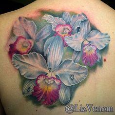 Orchid tattoo by Liz Venom, Bombshell Tattoo by LizVenom