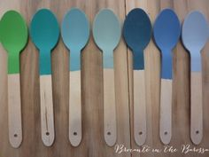 from left to right, Antibes Green, Florence, Provence, Duck Egg Blue, Aubusson Blue, Greek Blue, and Louis Blue