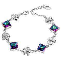 Rainbow Mystic Topaz Square Cut In Silver Plated Bracelet   eBay