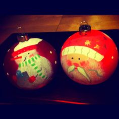 Hand painted pottery baubles