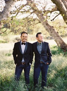 Well-Groomed Groom: Anniversary Adoration - Joel Serrato & Jose Villa celebrate their first year with a little help from Leo Patrone #gay_wedding #bow_ties #jeans