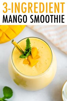 This easy mango smoothie is made with just three ingredients — frozen mango, Greek yogurt and milk. It's super similar to a mango lassi, but without the added sugar! Good Healthy Recipes, Healthy Breakfast Recipes, Brunch Recipes, Whole Food Recipes, Snack Recipes, Paleo Recipes, Snacks, Almond Milk Yogurt, Almond Milk Recipes