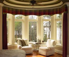 wonderful living room windows decorating ideas red fabric valance curtains modern white bay window treatments sofa covers designs brown chrome fan ceiling stainless steel end table on living room category with post living room window design ideas Bow Window Treatments, Window Treatments Living Room, Living Room Windows, Window Coverings, Bedroom Windows, Curtain Styles, Curtain Designs, Curtain Ideas, Valance Ideas