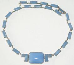Blue Milk Glass Czechoslovakia  Necklace