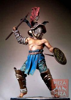 The Hoplomachus gladiator carried a spear, a small round shield and a small sword. Used to fight versus the Murmillos.