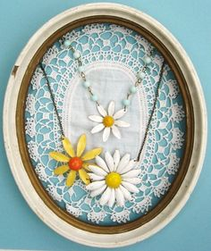 love the doily in the frame for a background--I have some necklaces that belonged to my mom that would be beautiful displayed this way.