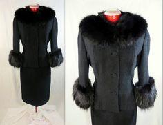 Lilli Ann Designer Fox Fur Suit Dress Fur Trimmed Jacket Black Boucle Wool 2pc Set Mad Men size S M Vintage c. 1950's