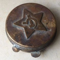 Vintage Collectible Russian Communist Military Battlefield Brass Compass Shell