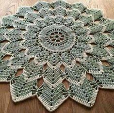 ideas crochet mandala carpet free pattern for 2019 Crochet Flower Squares, Free Crochet Doily Patterns, Crochet Diagram, Crochet Doilies, Crochet Flowers, Crochet Stitches, Free Pattern, Mandala Crochet, Mandala Rug