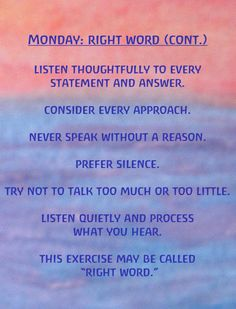 Monday Right Word continued