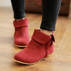 Red Flat Booties. Also comes in Olive and Black. Cute for Fall and Winter, and are also quite unique.