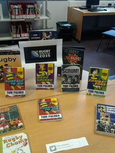 Rugby books ready @tompalmerauthor @Literacy_Trust @rugbyworldcup . Scrum on down and pick a good one! #readrugby