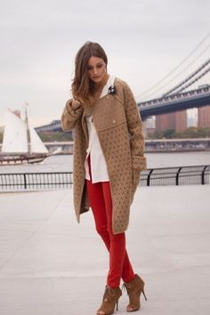 Red jeans, white top and long camel cardigan // Olivia Palermo