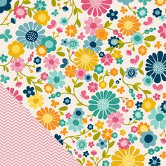 American Crafts - Pebbles - Sunnyside Collection - 12 x 12 Double Sided Paper - Blossoms at Scrapbook.com $0.84