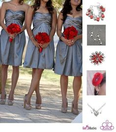 Beautiful Wedding and Prom Ideas to accessorize with! Love how this touch of red makes these silver dresses really stand out! Brides and Prom girls Accessorize Me for only 5 Bucks!  Contact me for these great accessories! www.brookespaparazziaccessories.weebly.com