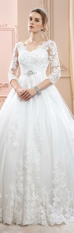 Ball Gown V-neck Court Train Lace Tulle Wedding Dress with Appliques Crystal Detailing
