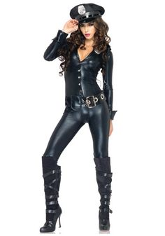 leg avenue 4 piece officer payne lame jumpsuit badge belt and hat black medium find this pin and more on halloween costumes 2015