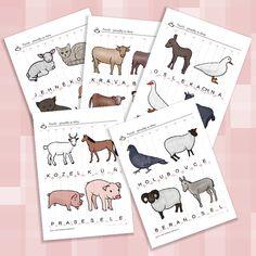 Puzzle - proužky se slovy - zvířátka ze statku Puzzle, Bullet Journal, Puzzles, Puzzle Games, Riddles