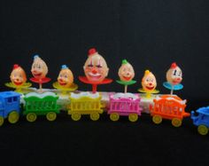 Clown Train Birthday Cake Decorations Candle by RedThreadRetro Cake Holder, Vintage Candle Holders, Birthday Cake Decorating, Cake Decorations, Vintage Cards, Party Supplies, Happy Birthday, Train, Candles