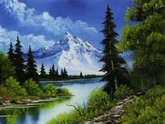 "Bob Ross~ <3 watching his shows...they are timeless!~ He has such a great spirit about him.. such a ""happy "" painter!~Happy Little Trees~"