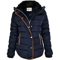98576ade11140 femmes matelassé manteau hiver doudoune col fourrure VESTE CAPUCHE PARKA  TAILLE NEUVE - bleu marine