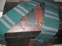 Slytherin Striped Scarf Green/Grey Hand Knit - from Somewhen Designs on Etsy.