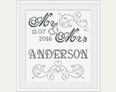 Mr & Mrs Cross Stitch Wedding Cross Stitch by PatternStitchShop