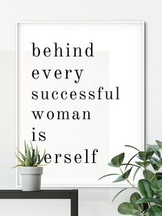 Behind every successful woman is herself Print Successful image 1 Empowering Women Quotes, Inspirational Quotes For Women, Motivational Quotes, Printable Quotes, Printable Art, Free Printables, Freud Quotes, New Job Gift, Successful Women