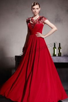 Red Cap Sleeve Embriodery Pleated Long Prom Dress BY939