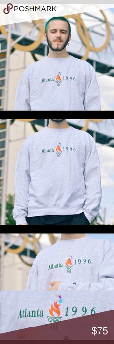 Vintage 1996 Atlanta Summer Olympics Crewneck Very nice and comfortable Champion piece, 9/10 condition with no holes or stains. Size XL (fits like a large) FIRM PRICE Champion Shirts Sweatshirts & Hoodies