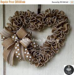 On sale Wedding wreath burlap wreath heart by MrsChristmasWorkshop