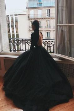 8e134e5110 High Neck Black Ball Gown Dresses with Long by PrettyLady on Zibbet Simple  Wedding Gowns