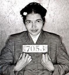Rosa Parks' MUG SHOT for disorderly conduct on a bus.     What a Shame !!