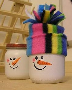 crafts made with babyfood jars | Baby Food Jar Snowmen